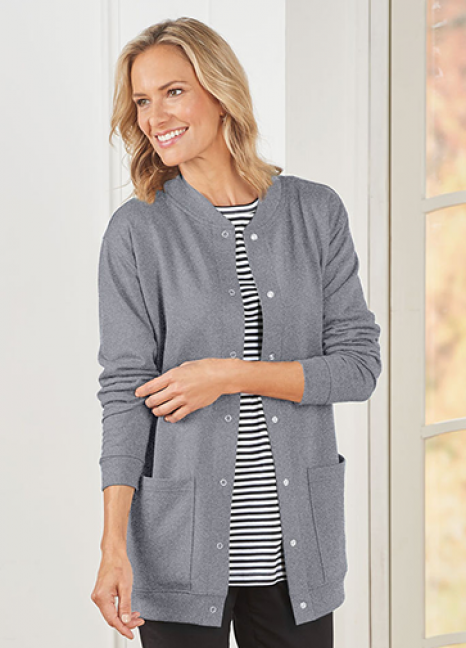Fleece Henley Cardigan Grey