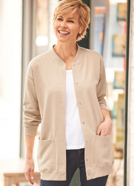 Fleece Henley Cardigan Oatmeal