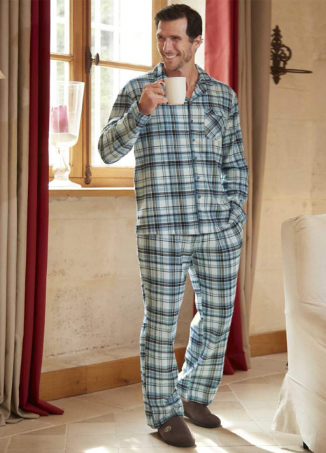 Blue Mens Checked Pyjamas
