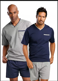 PACK OF 2 MENS SHORTY PYJAMA SUITS