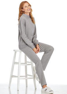 Cowl Neck Sweatshirt Set Grey