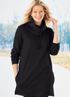 Cowl Neck Sweatshirt Black