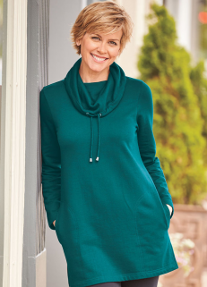Cowl Neck Sweatshirt Teal