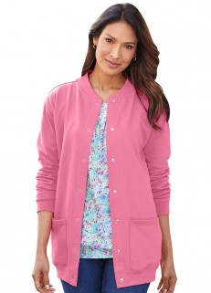 Fleece Henley Cardigan Pink MD